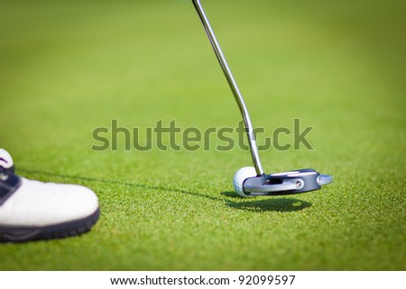 Golf Stick and Ball on the Green Grass