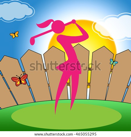 Golf Swing Woman Representing Fairway Golf-Club And Women