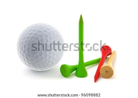 Golf Tee on white background - stock photo
