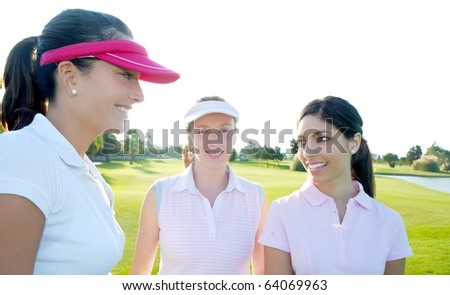 Golf three woman in a row green grass course players - stock photo