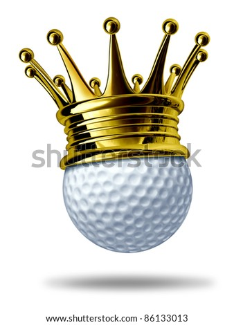 Golf tournament champion symbol represented by a white golf ball wearing a gold crown showing the concept of golfing sports competition winning and golf course  game activity. - stock photo