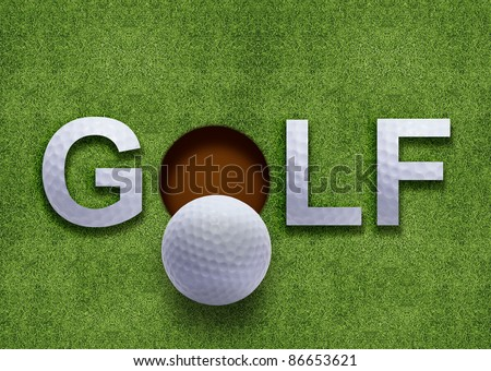 Golf word on green grass and golf ball on lip of hole - stock photo