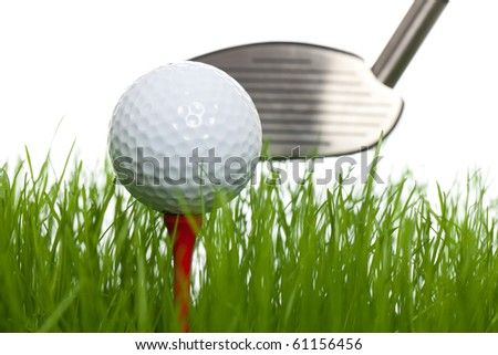 Golfball and a golfclub on a white backgorund (studio shot) - stock photo