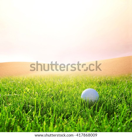 Golfball in the green grass on the golf course. Sport conceptual image. - stock photo