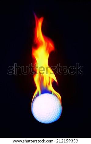 Golfball on Fire Burning - stock photo