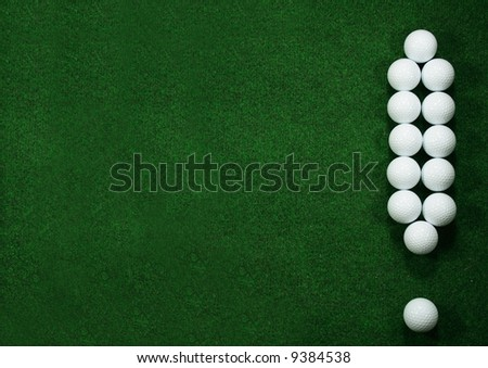 Golfballs as exclamation mark with green message area