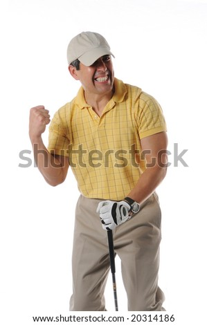 Golfer celebrating after a shot isolated on a white background - stock photo