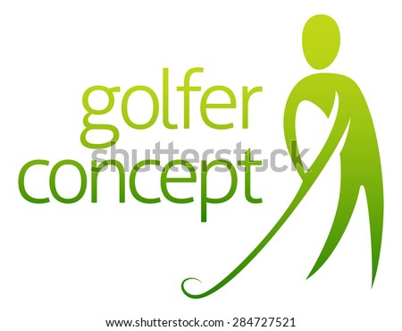 Golfer concept abstract of a golfer about to hit a golf ball - stock photo