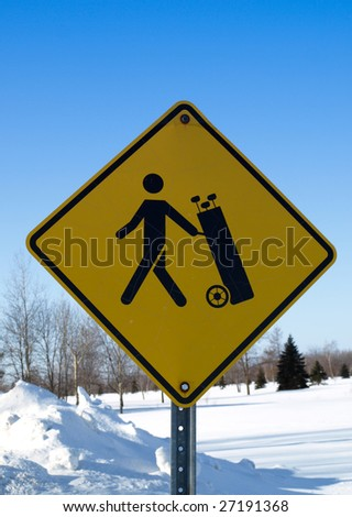 Golfer Crossing warning sign - stock photo
