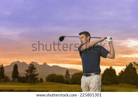 golfer hits driver / even though he'll putt for dough / likes to drive for show - stock photo