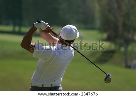 golfer in crans-montana golf - stock photo