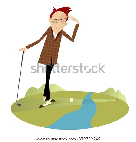 Golfer is thinking how to overcome a water hazard - stock photo