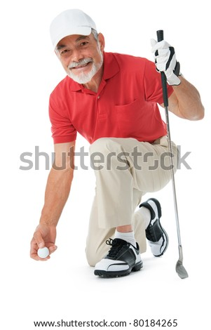 Golfer isolated on white background - stock photo