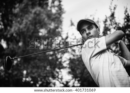 Golfer, portrait in black and white - stock photo