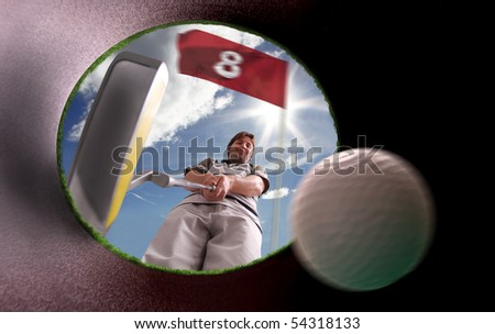 golfer putting inside the hole