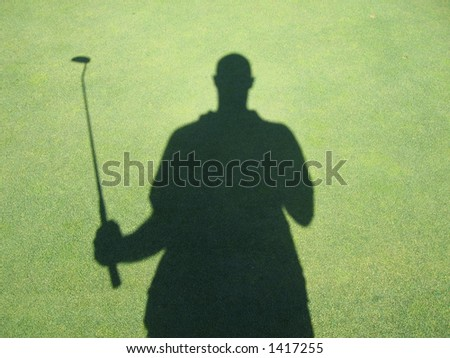 golfer shadow taiwan - stock photo