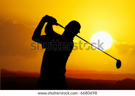 golfer silhouette - stock photo