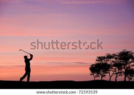 Golfer silhouette on beautiful colorful sunset evening sky - stock photo