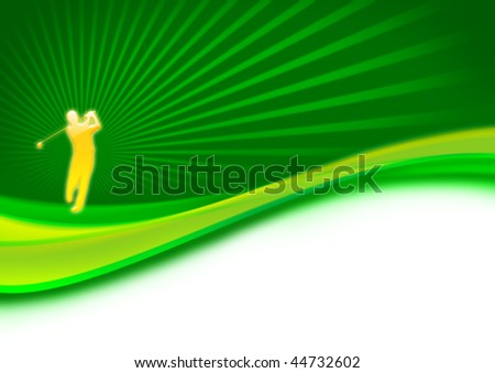 Golfer swing on the green with dynamic abstract background. - stock photo