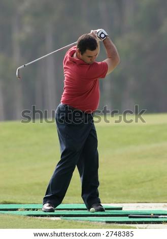 golfer training - stock photo