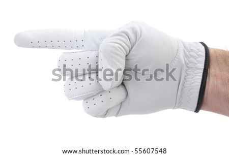 Golfer Wearing a White Glove Pointing to the Left - stock photo