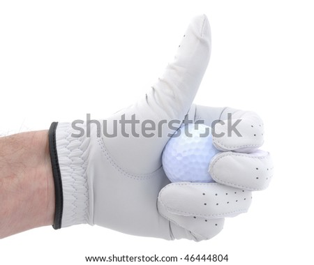 Golfer Wearing Golf Glove Giving Thumbs Up Sign - stock photo
