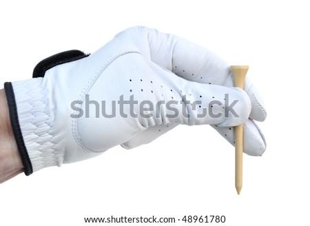 Golfer Wearing Golf Glove Holding a Golf Tee - stock photo