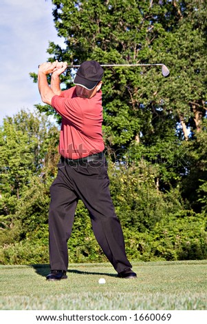 Golfer winding up to hit the ball. - stock photo