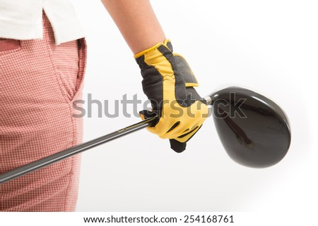 Golfers are holding a golf club Isolated white background - stock photo