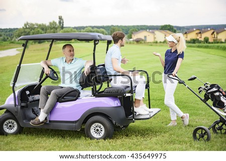 Golfing companions on golf course