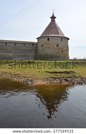 Golovina tower of the fortress at Shlisselburg city. Fortress called Oreshek (Nut fortress) - stock photo