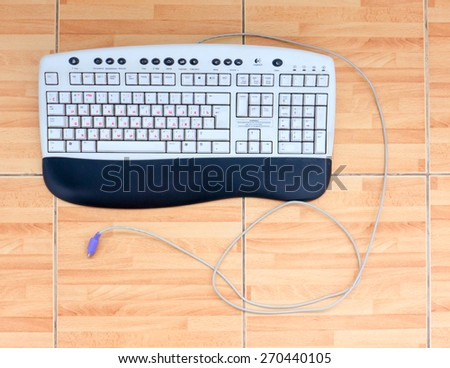 GOMEL, BELARUS - FEBRUARY 13, 2015: Logitech Office Keyboard Y-SQ33 (SK-2910). Logitech International S.A. is a Swiss global provider of personal computer and tablets accessories  in  Switzerland. - stock photo