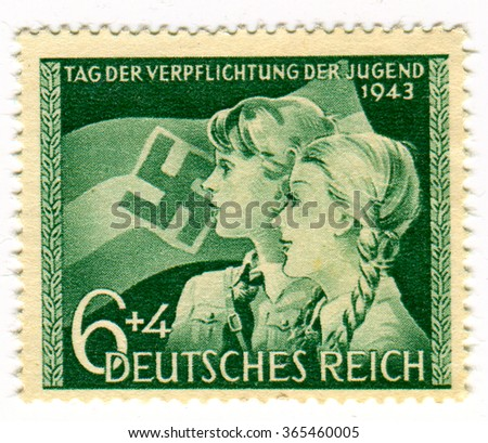 GOMEL,BELARUS - JANUARY 2016: A stamp printed in Germany shows image of the German youth, circa 1943. - stock photo