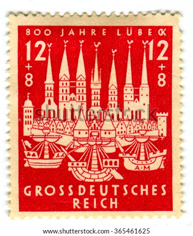 GOMEL,BELARUS - JANUARY 2016: A stamp printed in Germany shows image of the Lubeck is a city in Schleswig - Holstein, northern Germany, and one of the major ports of Germany, circa 1942. - stock photo
