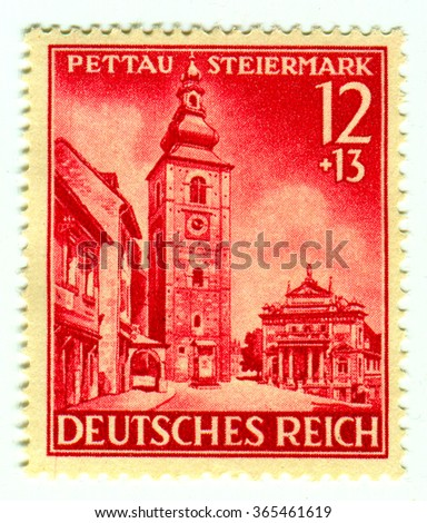 GOMEL,BELARUS - JANUARY 2016: A stamp printed in Germany shows image of the Ptuj is a town in northeastern Slovenia, circa 1942. - stock photo