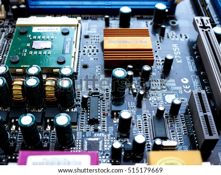 GOMEL, BELARUS - JULY 13, 2016. Motherboard EliteGroup K7S5A Pro / L rev5.0 Socket,A 462. Elitegroup Computer Systems Co., Ltd, is a Taiwan-based electronics firm.
