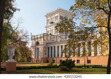 GOMEL, BELARUS - 17 October, 2011: small church in Gomel Palace Park Ensemble. - stock photo