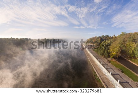 Gomel, Belarus - 1 October 2015: view from the bridge on the waterfront