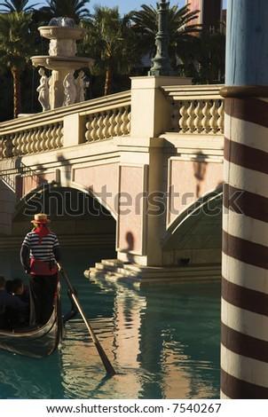 Gondola at Venetian Hotel in Las Vegas - stock photo