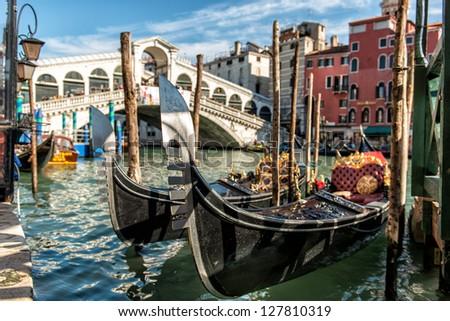 Gondola, Canal Grande and Rialto Bridge Gondola, under the Venice�s Rialto Bridge - stock photo