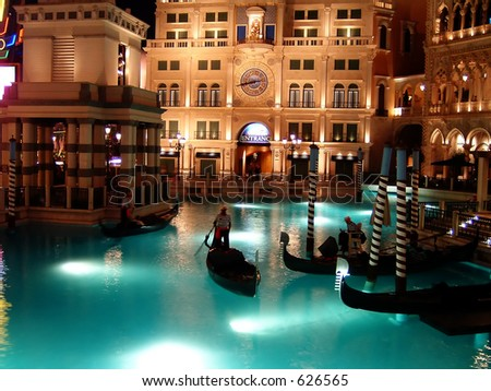 Gondola Canal, Venetian Hotel, Las Vegas - stock photo