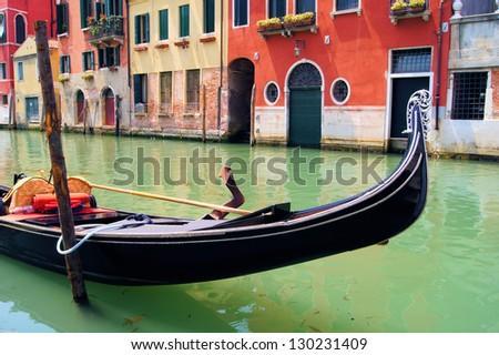 Gondola close up in the canals of Venice, Italy - stock photo