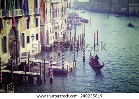 gondola in Grand Canal, Venice. Processed for vintage tone effect - stock photo