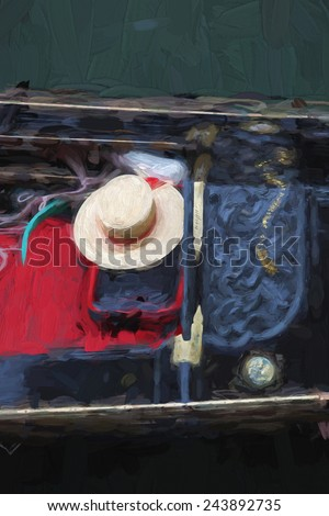 Gondola in Venice, Italy, Oil painting - stock photo
