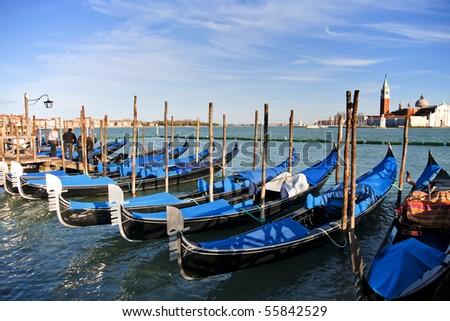Gondola Parking, Venice - stock photo