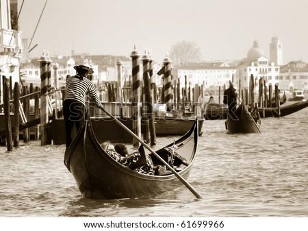 Gondola towards San Marco square, Venice - stock photo