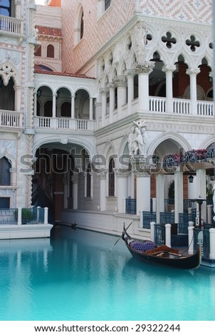 gondolas and architecture at the venetian in las vegas - stock photo
