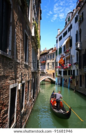 Gondolas and canals in Venice, Italy - stock photo