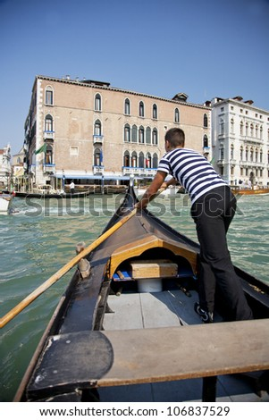 Gondolas and canals in Venice, transportation of tourist