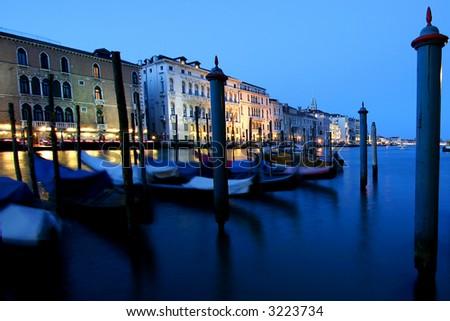 gondolas at canale grande - stock photo